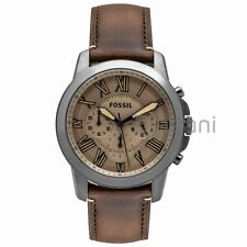 Fossil Original FS5214 Men's Grant Drak Brown Leather Watch 44mm Chronograph