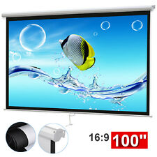 "100"" 16:9 Home HD Movie Manual Projection Screen Pull Down Projector Matte White"