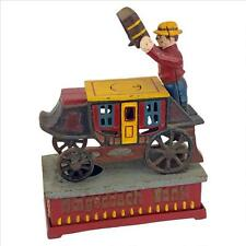SP1810 - Stagecoach Strongbox Die-Cast Iron Mechanical Coin Bank