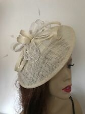 Cream Ivory Disc Fascinator Wedding Hatinator Lace Saucer Hat Ascot Races