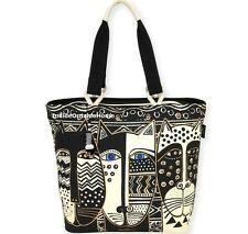 Laurel Burch Wild Cats Large Shoulder Tote Bag Black White New 2017