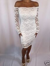 Elegant Stretch White Lace Long Sleeve  Off Shoulder Evening Cocktail XL