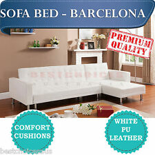 BRAND NEW Modern Design White PU Leather Corner Sofa Bed L Shaped - Barcelona