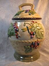 Tracy Porter Grapes & Dragonfly Claret Collection Colorful Cookie Jar.