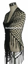 Exotic Handmade Crochet Net Triangular Shawl Wrap Hip Scarf w/ Sequins, Black
