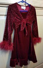 Girls Size 5 IZ Byer Red Stretch Velvet Glitter w/ Boas Holiday/Christmas Dress