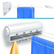 Retractable Clothesline Clothes Rack Dryer 4-Line Hanging Hooks Laundry Drying