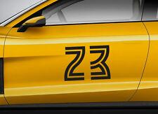 RACE NUMBERS retro 12. Custom car vinyl door sticker. Track trails transfer.