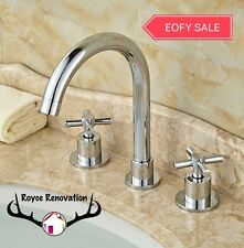 Chrome High Rise Round Cross Handle Bathroom Kitchen Laundry Sink Tap Mixer set