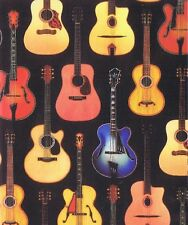 Fat Quarter Acoustic Guitars Music 100% Cotton Quilting Fabric
