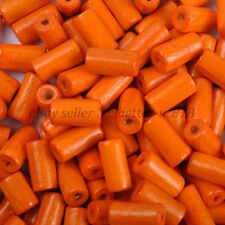 100pcs TUBE SHAPES Orange & Charms WOOD Loose BEADS & 12X6MM