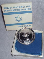 1973 Towle Sterling State Of Israel Commemorative Medallion Christmas Ornament