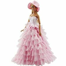 Acekid Barbie Doll Princess Evening Party Clothes Dress Outfit Set with Hat