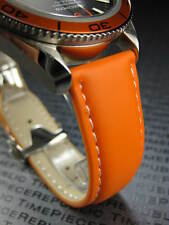New OMEGA 22mm Rubber Strap Diver Watch Band Orange with White 22 mm