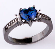 NEW Size8 love sapphire CZ Fashion Black 18K Gold Filled Rings 2.10ct BB08