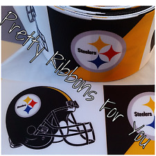 """Steelers 3""""  grosgrain ribbon the listing is for 2 yards total"""