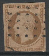 """FRANCE  N° 9 """" LOUIS-NAPOLEON 10c  BISTRE 1852 """" OBLITERE A VOIR  N824"""