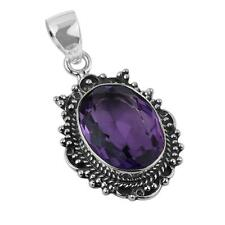 VINTAGE STYLE AMETHYST GEMSTONE 925 STERLING SILVER NECKLACE PENDANT 1 5/8""