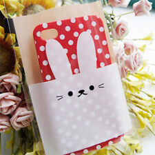 50 Pcs Cartoon Rabbit Cookie Packaging Clear Plastic Bag for Biscuits