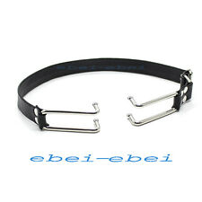 Faux Leather Belt Steel Mouth Open hook Restraint bondage Fetish Gag Fancy Tool