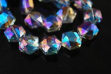 10ps Blue Colorized Faceted Glass Crystal Hexagon Beads Spacer Findings 16x14mm