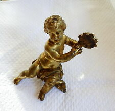 PUTTO AU TAMBOURIN EN BRONZE