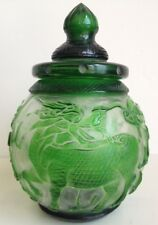 Antique Chinese Green Peking Glass Jar and Lid - Dragon Phoenix & Flaming Pearls