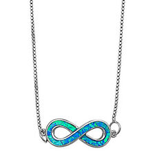 "Solid Blue Opal Infinity .925 Sterling Silver Pendant Necklace 16""+2""ext"