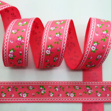 NEW~ 5 Yards 1Inch 25mm Wide Printed Grosgrain Ribbon Hair Bow DIY Sewing #B118