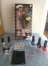 SANRIO KUROMI NAIL ART SET/KIT BY TOWNLEY~POLISHES STENCILS NAIL GEMS MINX NAILS