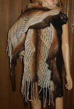 MISSONI Designer Mohair Brown MULTI Knitted Ombre Shawl Scarf Wrap NEW