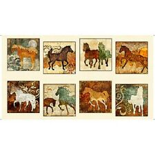 Quilting Treasures ~ Unbridled Horse Squares Panels ~ 100% Cotton Quilt Fabric