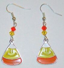 HALLOWEEN EARRINGS-CANDY CORN-SWAROVSKI  BEADS-ORANGE/ YELLOW /WHITE-HANDMADE