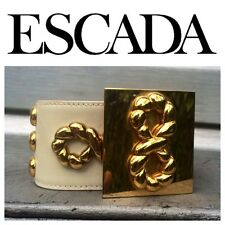 ESCADA Vintage Gold Braided Rope Ivory Leather Belt RARE!!