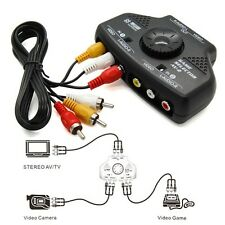 2 Way 2 Input 1 Output Audio Video AV & TV Selector Switcher Adapter & RCA Cable