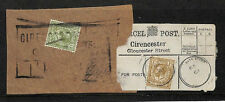 KK284 1925 GB PARCEL POST LABEL *Cirencester* Two KGV Pieces {samwells-covers}