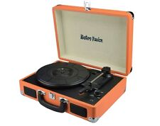 RETRO FUSION® ORANGE VINYL RECORD PLAYER SUITCASE BRIEFCASE ATTACHE TURNTABLE
