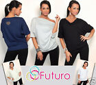 Ladies Top Short Sleeve Batwing Cowl Neck Loose Fit Tunic Jumper Size 8-12 FT302
