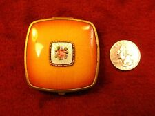 #1 of 2, GORGEOUS VTG ANTIQUE ART DECO GUILLOCHE ENAMEL & BRASS POWDER COMPACT