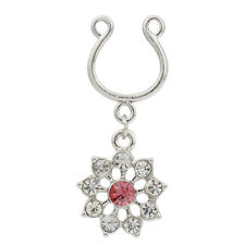 1pc Non Piercing Clip On Dangle with Crystal Flowers Nipple Ring / Shield HM