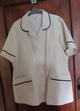Ladies Alexandra Work top 120cm short sleeved  Cream with navy trim