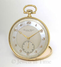 International Watch Co. IWC 14k Yellow Gold MOP Vintage Mens Pocket Watch