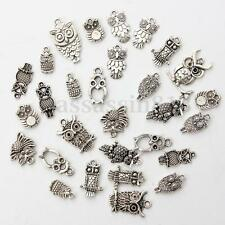 30PCS Mixed Tibetan Silver Owl Charms Pendant Bead For Jewelry Making Craft DIY