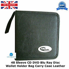 2 x  48 Sleeve CD DVD Blu Ray Disc Wallet Holder Bag Storage Carry Case Leather