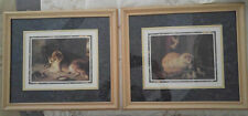 ADORABLE SET OF FRAMED PICTURES OF COLLIE AND KITTIES BERNARD PICTURE CO