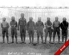 BRITISH SOCCER TEAM IN GAS MASKS WORLD WAR 1 WWI PHOTO REAL CANVAS ART PRINT