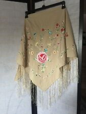 Women's Tan Floral Embroidered Polyester Shawl Sz M china made
