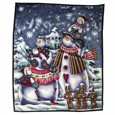 Large Christmas Snowman Fleece Blanket Throw Christmas Decoration 160 x 130cm