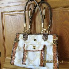 Miss Tina Purse Handbag Ivory w Gold Signature Print Gold Accents Beyonce's Mom