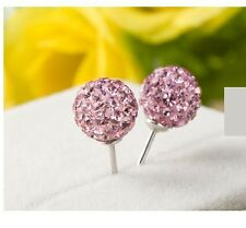 8mm Sterling Silver Love Pink Pave Crystal Disco Ball Stud Earrings Gift Box F13